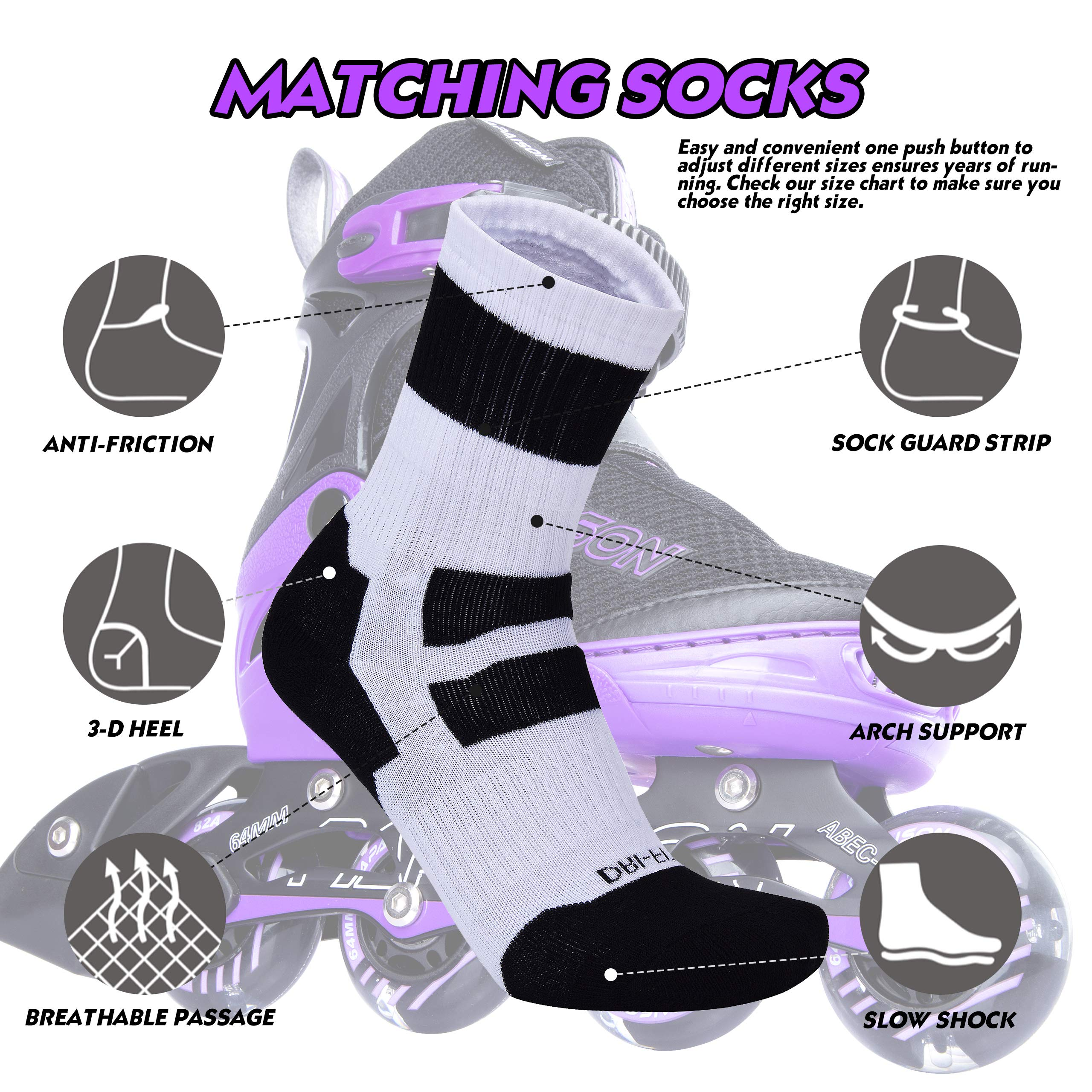 PAPAISON SPORTS Adjustable Inline Skates for Kids and Adults with Full Light Up LED Wheels, Outdoor Rollerblades for Girls and Boys, Men and Women by PAPAISON SPORTS (Image #3)