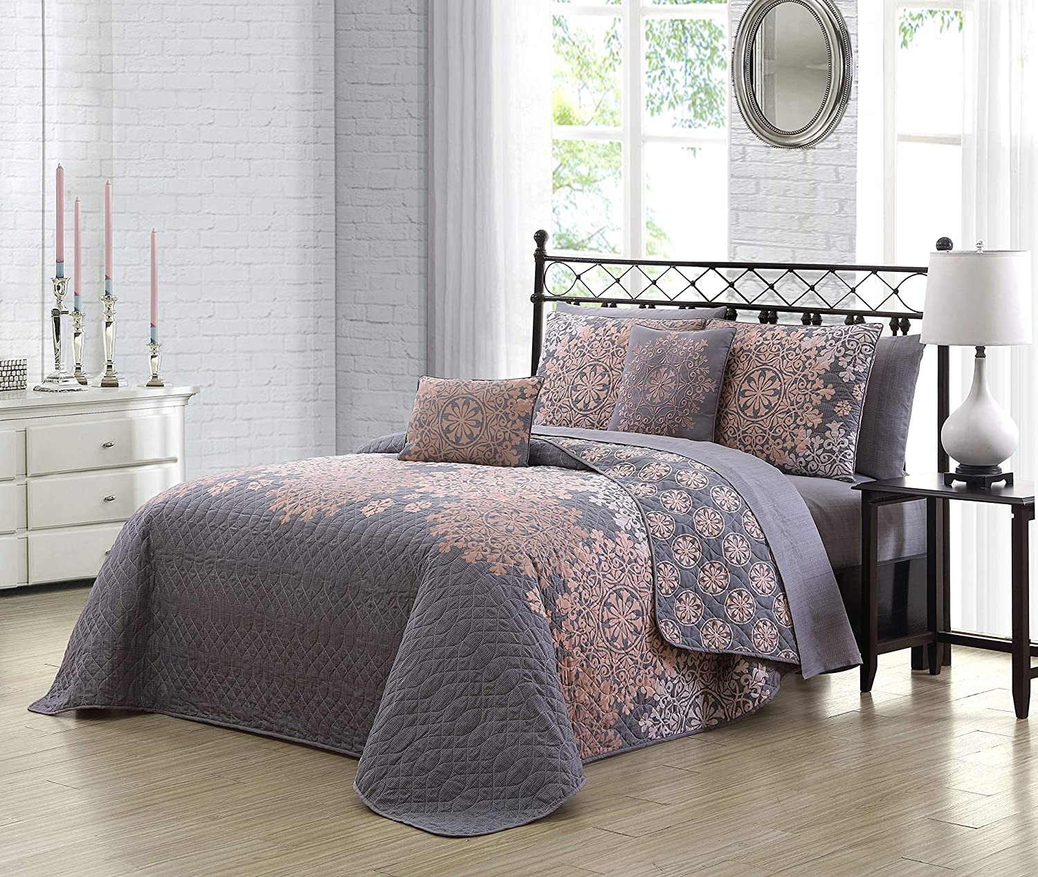Geneva Home Fashion Amber 9pc Reversible Quilt with Sheet Bedding Set, Queen, Grey/Blush