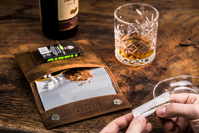 Bolsa para tabaco skaard de cuero genuino con doble compartimiento para papel de liar marr/ón cerradura magn/ética