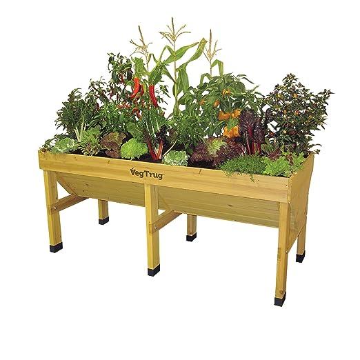 Pratica fioriera VEGTRUG Medium conpanno incluso, in pregiato legno di cedro, ca.180 x 78 x 80 cm, orto, fioriera a mangiatoia per piante, ampliabile,