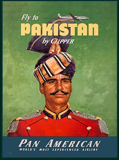 Fly To Pakistan By Clipper Pan American Vintage Travel Advertisement Collectible Wall Decor Poster Print