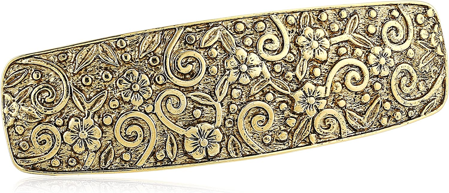1928 Jewelry Womens Gold-Tone Floral Hair Barrette Accessory, 3