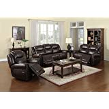 Nora Brown Leather Reclining 3 pc Living Room Sofa set