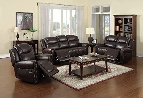 Nora Brown Leather Reclining 3 Pc Living Room Sofa Set Part 72