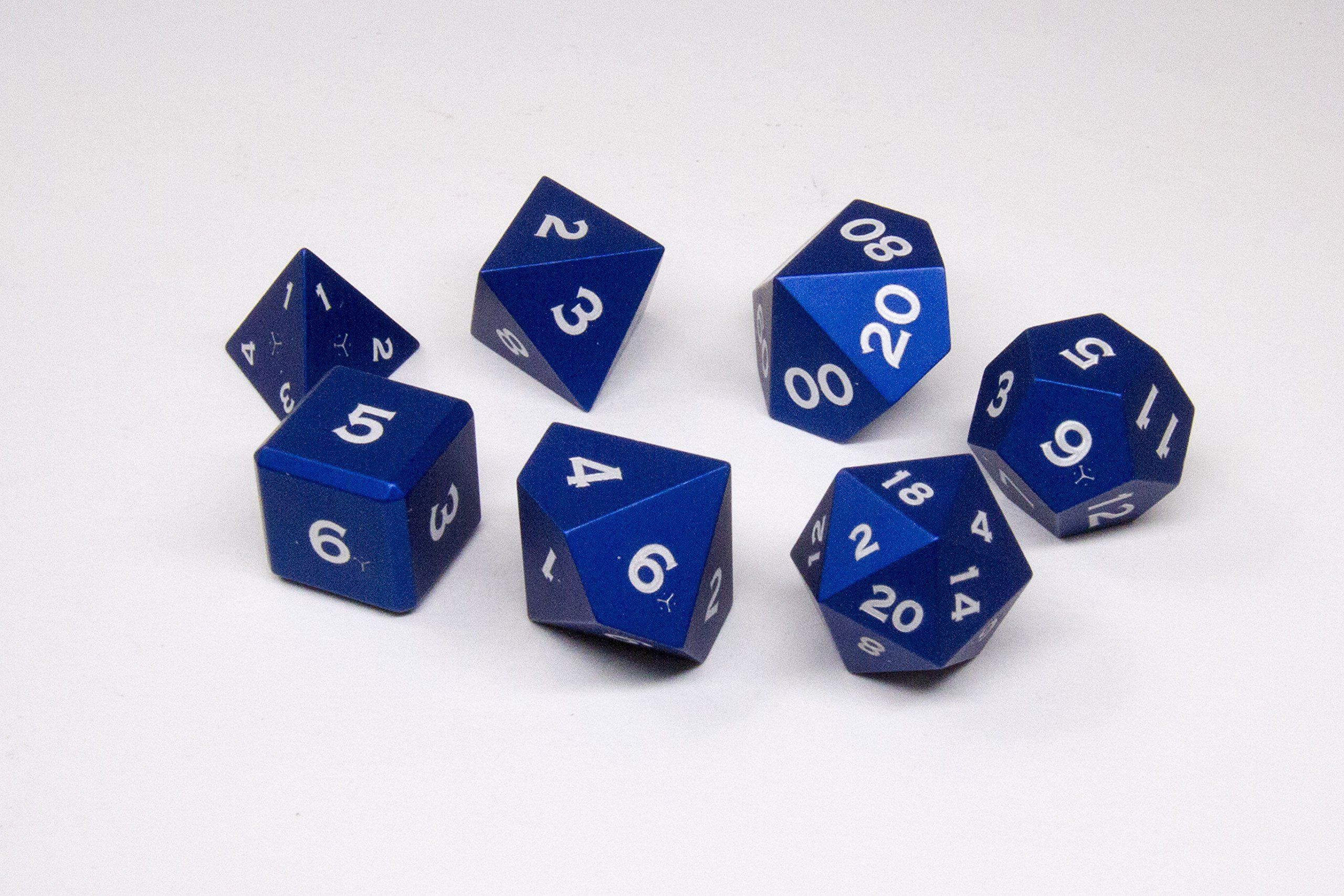Gravity Dice 7 Metal Polyhedral Dice Set - Anodized Aluminum - World's Most Precise Gaming Dice (Cobalt Blue) by Gravity Dice