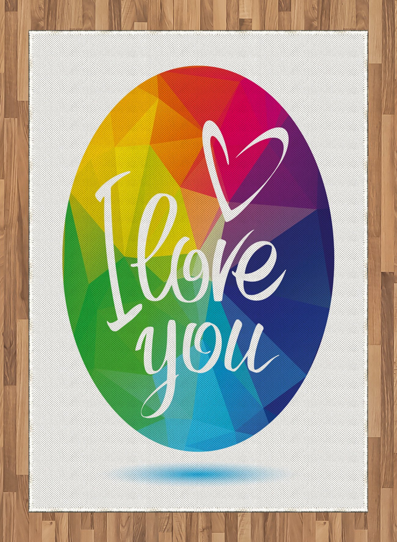 Pride Area Rug by Ambesonne, Rounded Polygonal Rainbow Colored Framework with I Love You Calligraphic Design, Flat Woven Accent Rug for Living Room Bedroom Dining Room, 5.2 x 7.5 FT, Multicolor