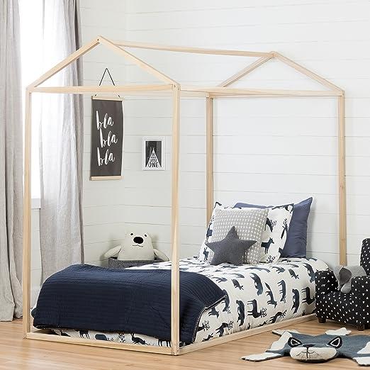 South Shore Sweedi Natural Poplar Twin House Bed Furniture Decor