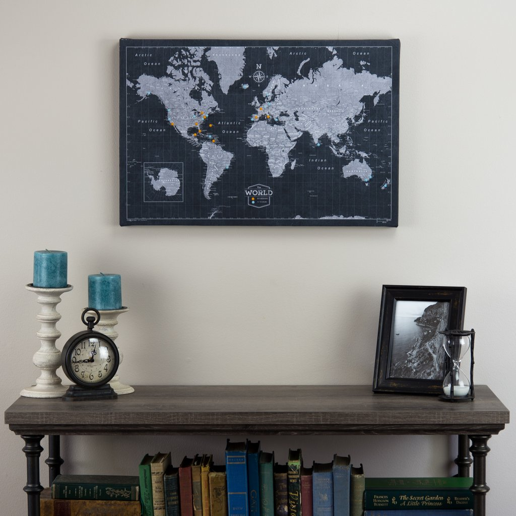 World Travel Map Pin Board w/Push Pins: Modern Slate - Conquest Maps