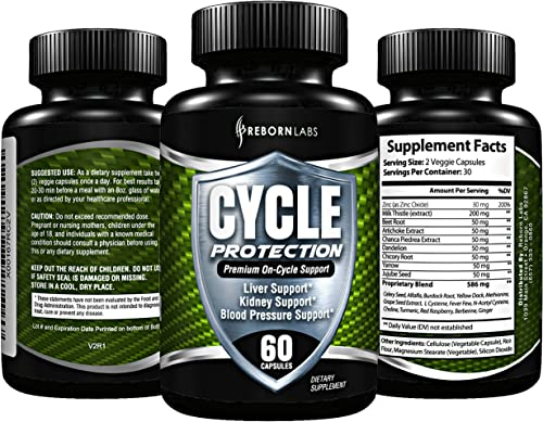 Cycle Support Supplement – Liver Cleanse, Estrogen Blocker, Organ Support Premium On Cycle PCT Support Formula With Zinc as Natural Aromatase Inhibitor Testosterone Booster for Men 60 Capsules