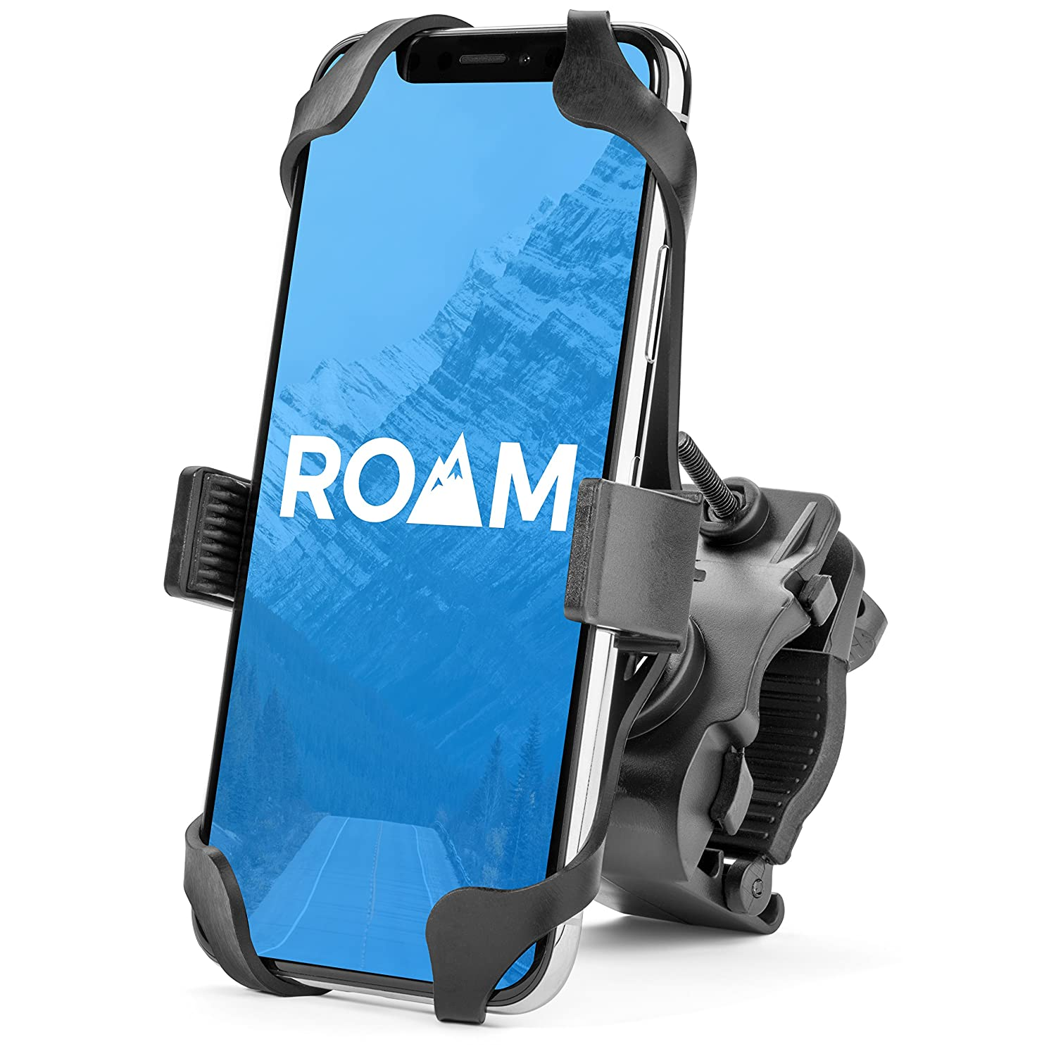 Roam Universal Premium Bike Phone Mount For Motorcycle - Bike Handlebars, Adjustable, Fits IPhone X, 8 , 8 Plus, 7 , 7 Plus, IPhone 6s , 6s Plus, Galaxy S7, S6, S5, Holds Phones Up To 3.5' Wide