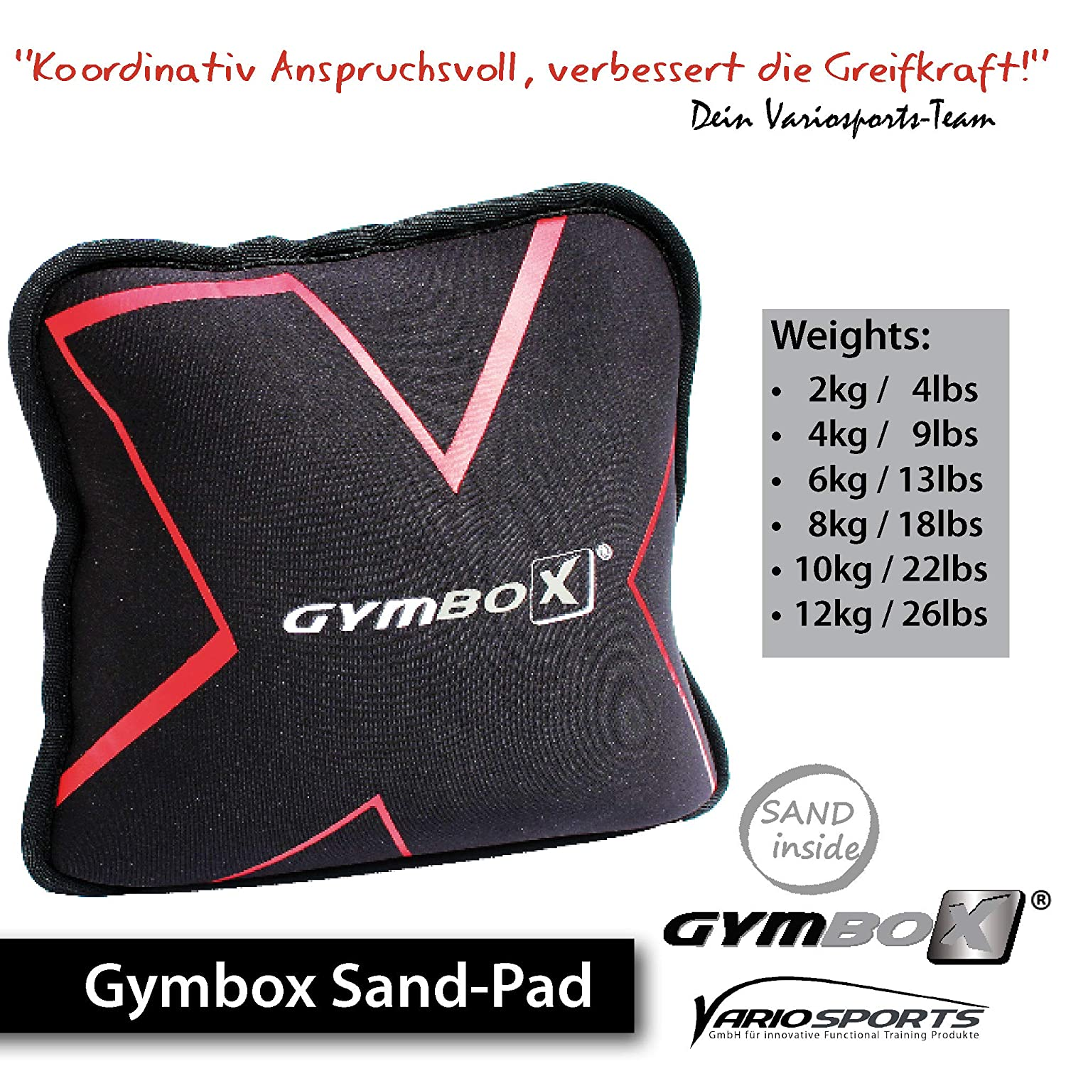 Gymbox Professional Sand Pad Fitness Power Bag Free Moving Weight for Functional Training Crossfit Heavy Weight Exercises Lifting Workout Black 2-12kg Filled 4-26,5lbs