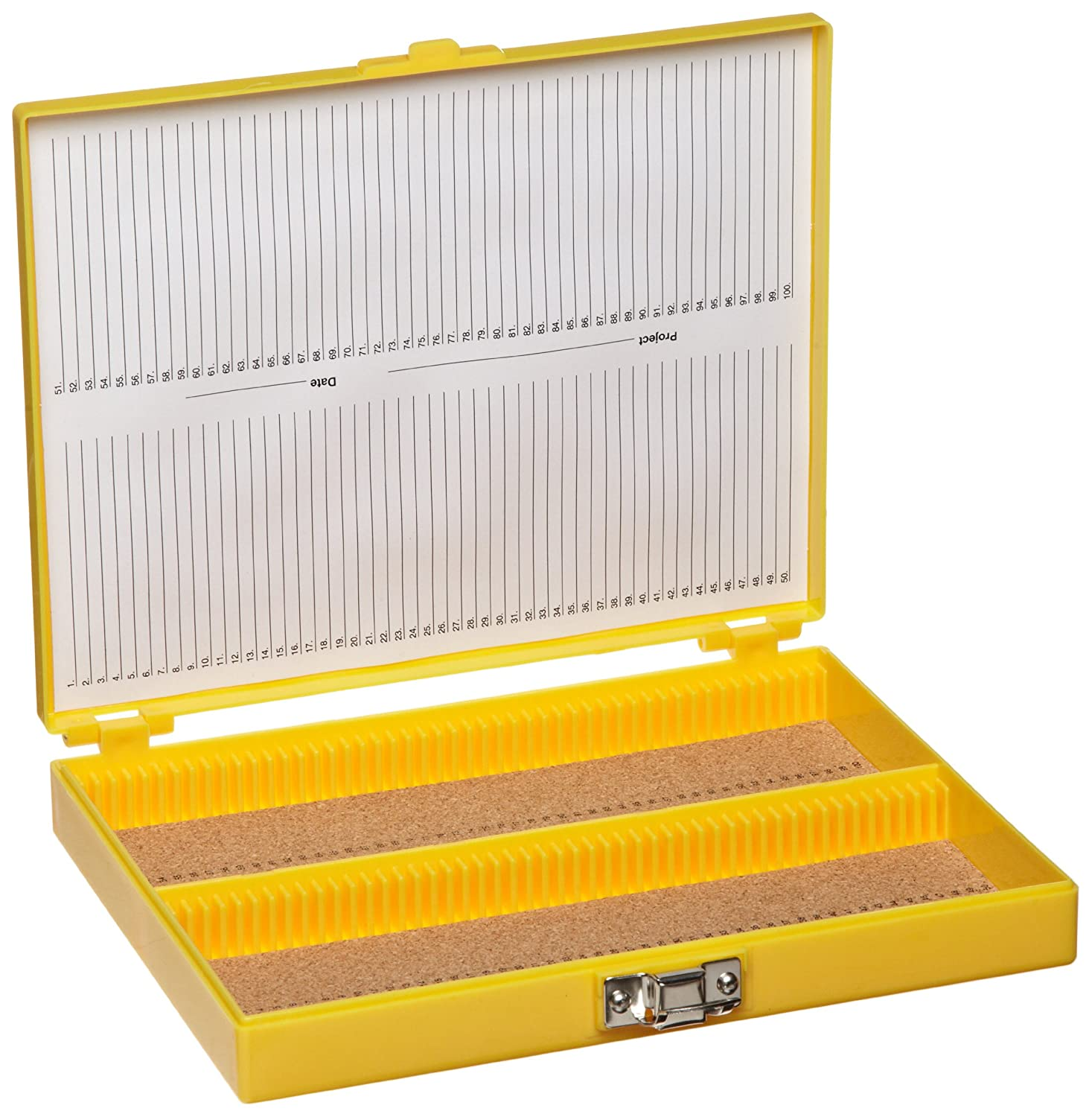 Heathrow Scientific HD15994D Microscope Slide Box, Cork Lined, 100 Place, 208 mm Length x 175 mm Width x 34 mm Height, Yellow HS15994D