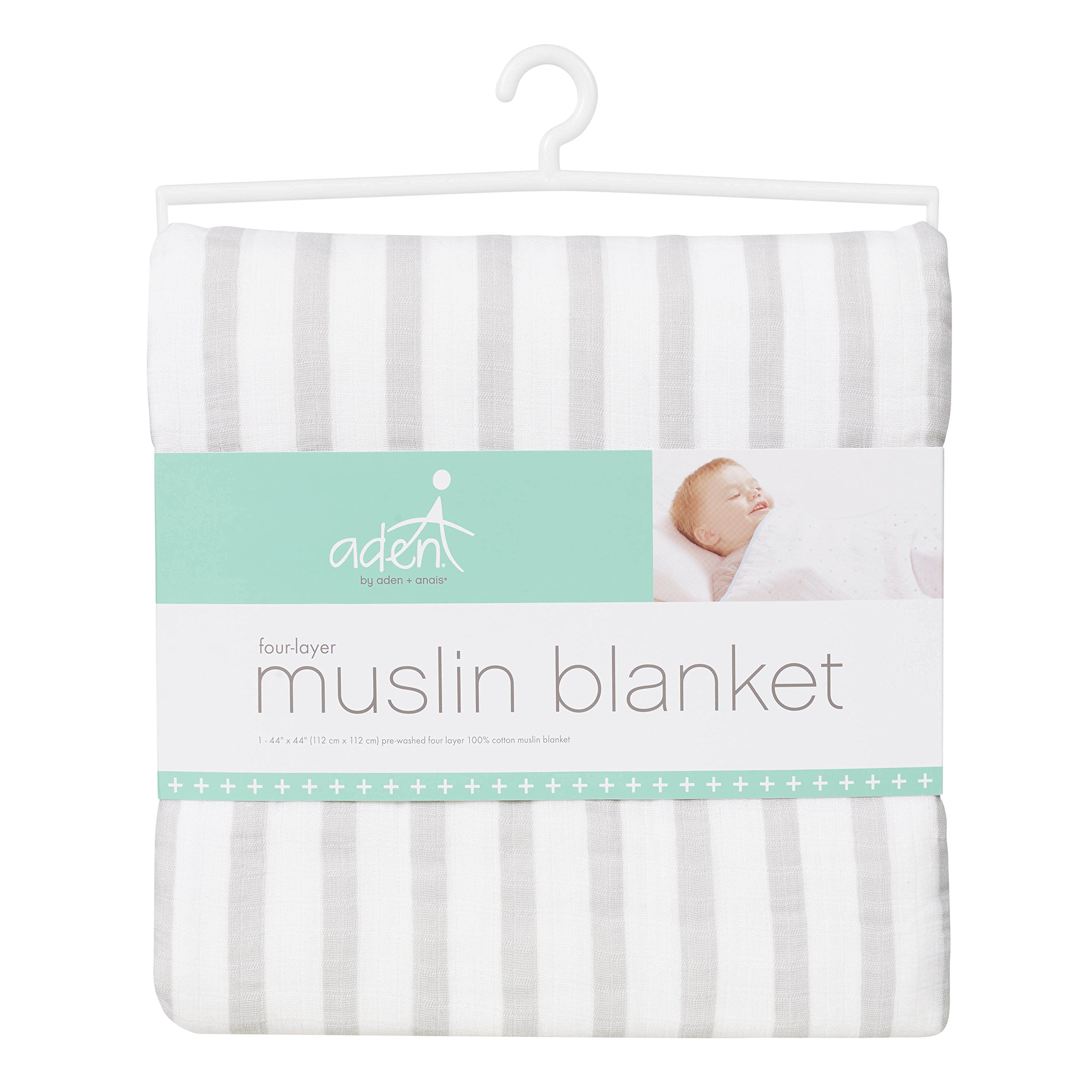Aden by Aden + Anais Dream Blanket, 100% Cotton Muslin, 4 Layer Lightweight and Breathable, Large 44 X 44 inch, Micro Chip Stripe