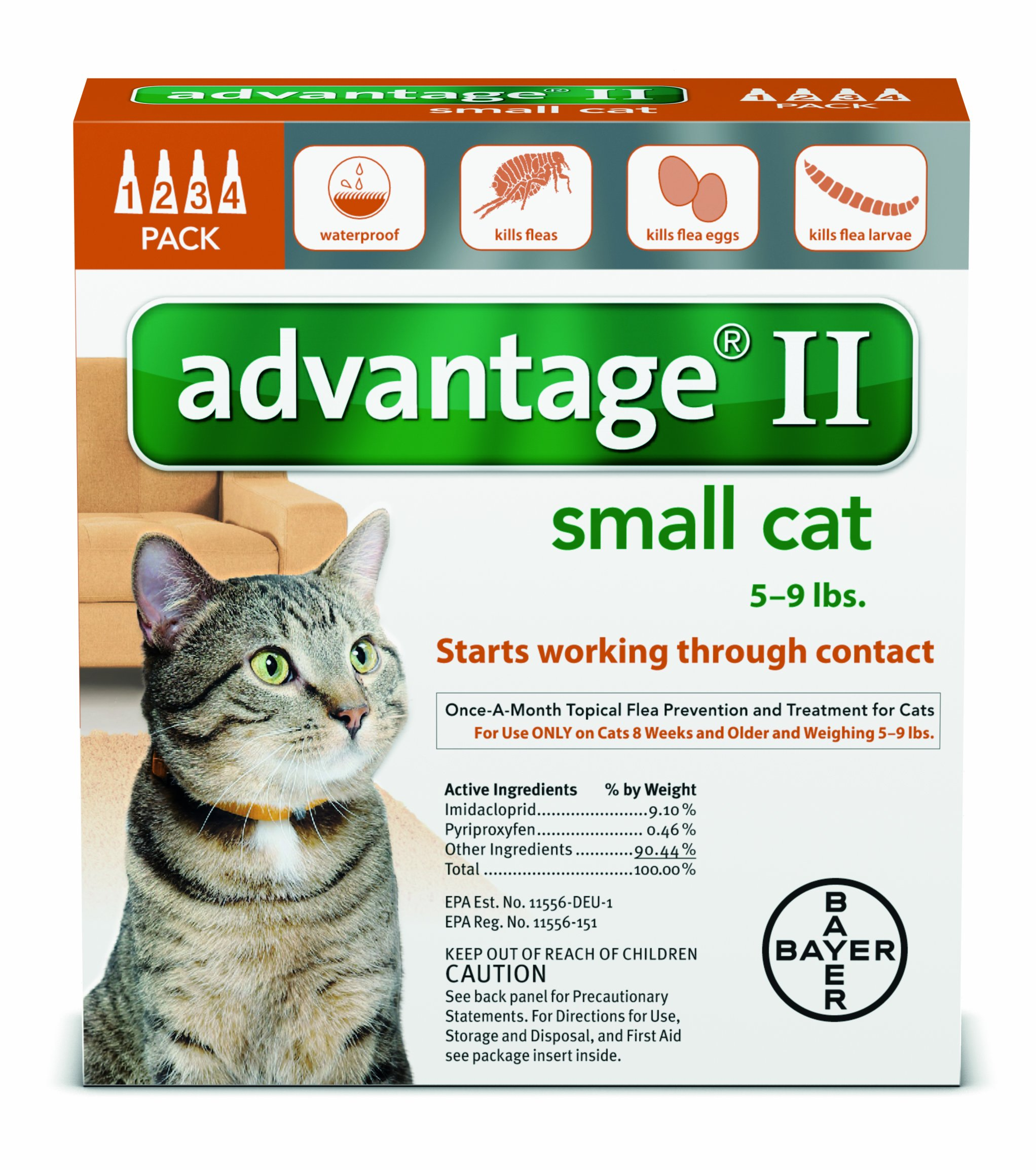 Bayer Animal Health Advantage Once-A-Month Topical Flea Treatment for Cats & Kittens up to 9 Lbs (4 Applications)