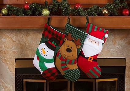3 pcs set classic christmas stockings 18 cute santas toys stockings - Classic Christmas Stockings