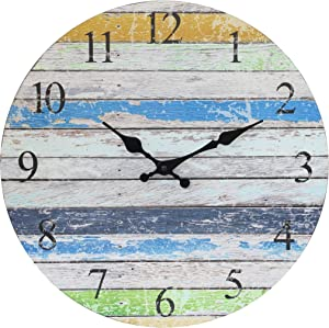 Stonebriar Vintage Farmhouse Worn Blue, Green, and White 14 Inch Round Hanging Clock, Battery Operated, Rustic Wall Decor for The Living Room, Kitchen, Bedroom, and Patio, Multicolor