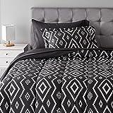 Amazon Basics 5-Piece Lightweight Microfiber Bed-In-A-Bag Comforter Bedding Set - Twin/Twin XL, Black Aztec