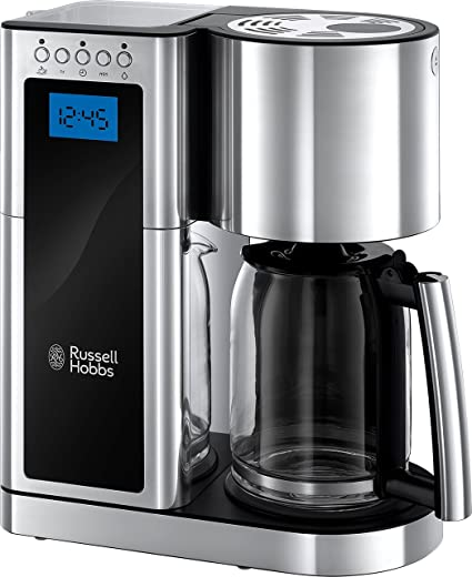 Russell Hobbs 23370 Elegance Digital Coffee Maker Programmable With 24 Hour Timer Reusable Filter Hot Plate And 10 Cup Capacity