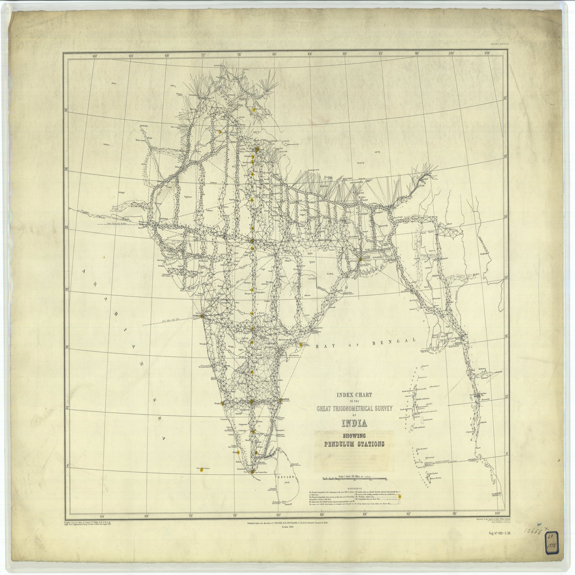 16 x 20 Glossy Nautical Map Printed on Metal Index Chart to the Great Trigonometrical Survey of India Showing Pendulum Stations 1893 NOAA 22a