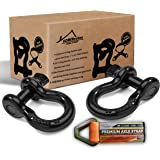 """D Rings Shackles 3/4""""-2 Pack Bundle with Axle Strap for Winch, Towing 20 tons (41,786 lbs) maximum Break Strength, Heavy Duty Shackle accessories For Jeep Truck Tow Strap Off Road Vehicle Recovery."""