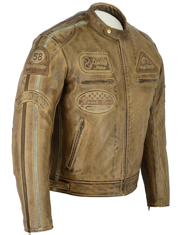 Chaqueta de cuero para motocicleta, chaqueta rockera ...