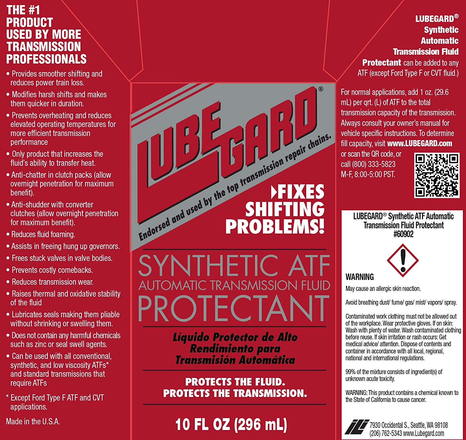 Lubegard 60902 Automatic Transmission Fluid Protectant, 10 oz