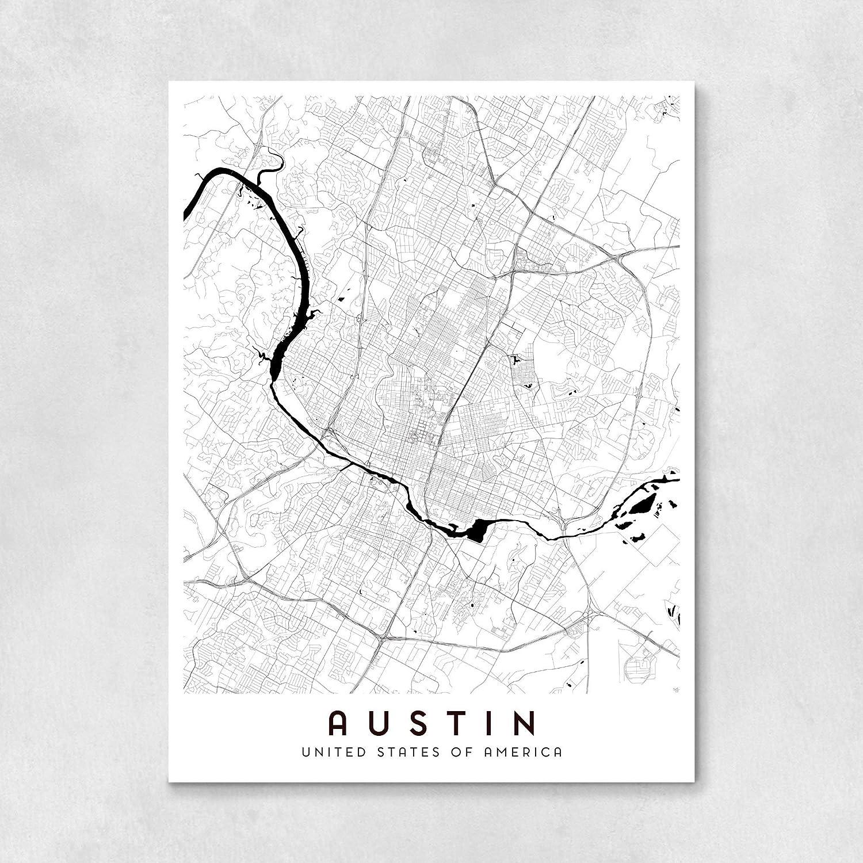 Amazon.com: Austin City Map - 18 x 24 in: Handmade