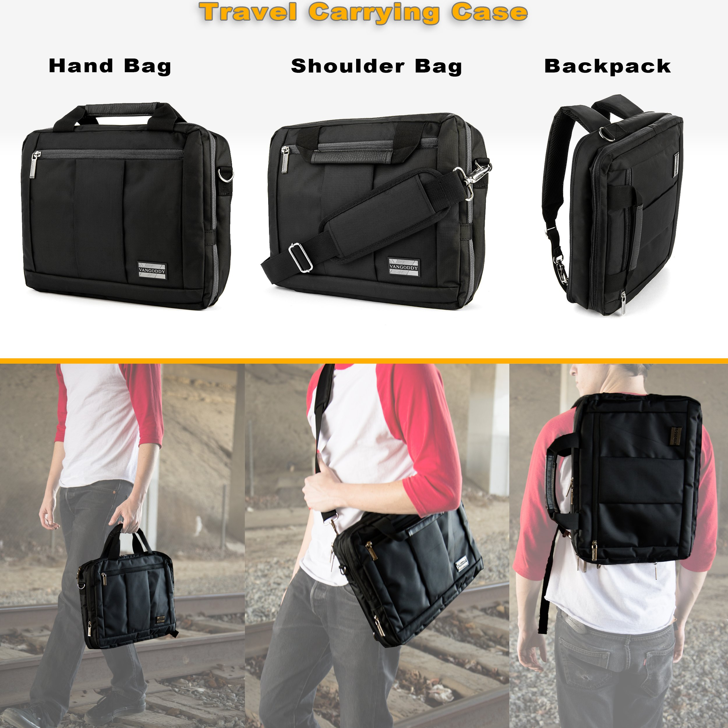 Executive Travel Carrying Bag, Messenger Bag & Backpack For Samsung Galaxy Tab PRO / Galaxy Note PRO 12.2'' Tablet + Pink Bluetooth Suction Speaker by Vangoddy (Image #6)