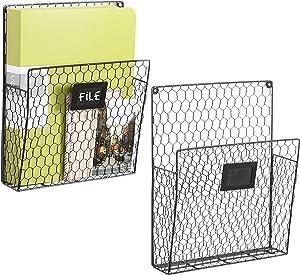 MyGift Set of 2 Wall-Mounted Black Chicken Wire Magazine Baskets