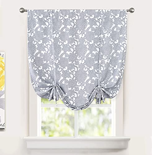 DriftAway Daisy Dahlia Blooming Floral Pattern Blackout Lined Tie Up Adjustable Balloon Rod Pocket Curtain for Small Window 45 Inch by 63 Inch Gray