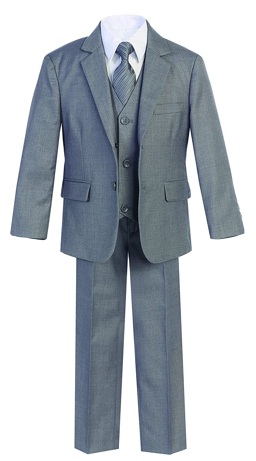 Magen Kids 5 PcS Boys Formal L Gray Suit, Vest, Pant, Dress Shirt, Tie Set Size 2-18 BS-US-MN-B18-L Gray