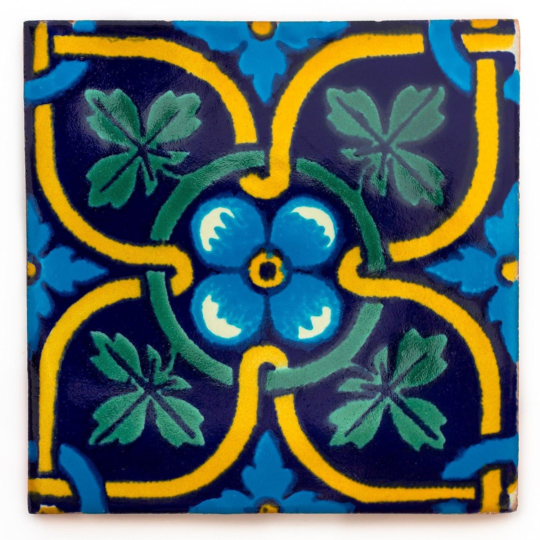 Azulejos Mexicanos Artesanales de Talavera de 10.5cm – Pack de 10 Tumia LAC
