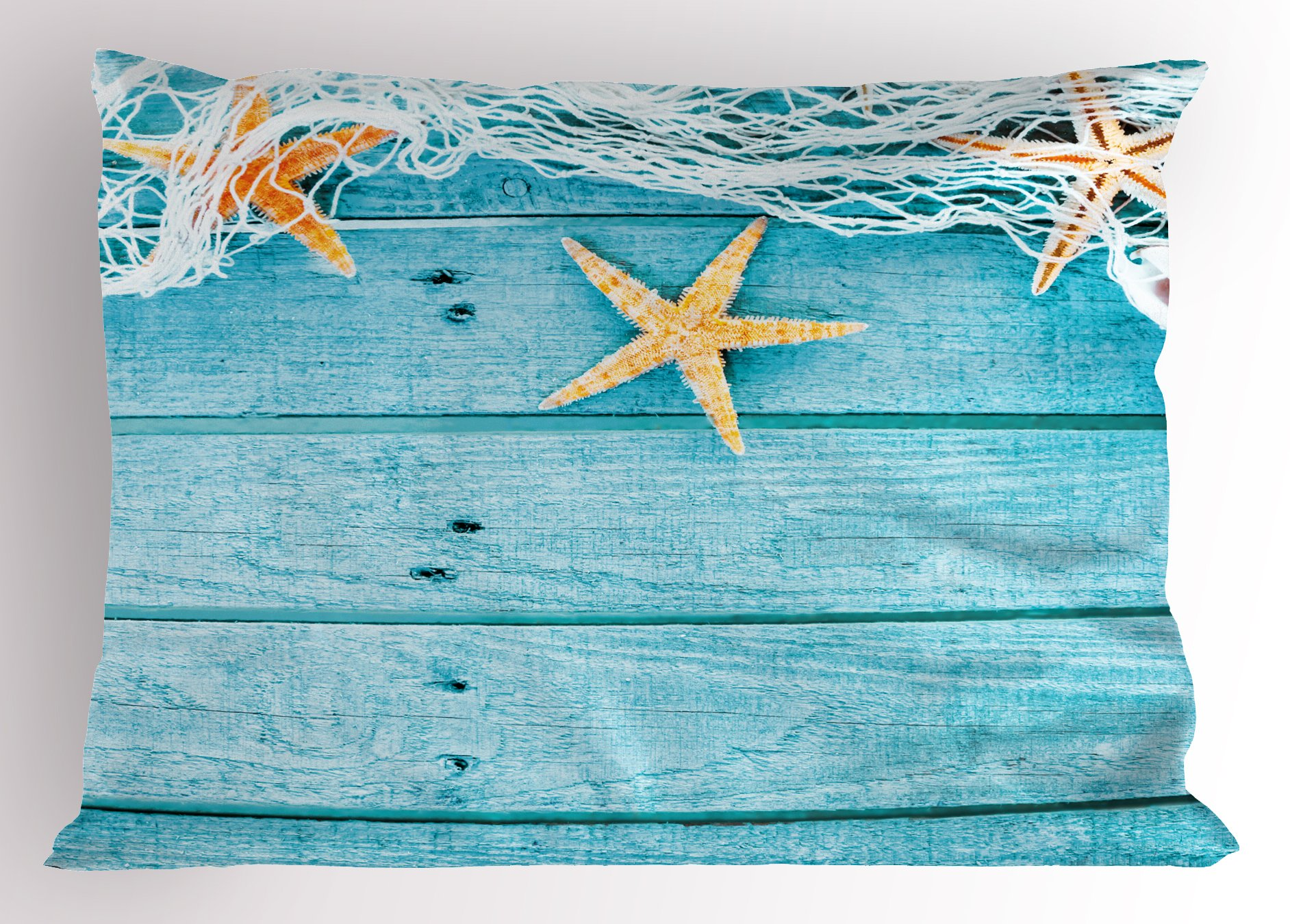 Ambesonne Starfish Decor Pillow Sham, Rustic Wood Boards Fishing Net and Ocean Animals Nautical Print, Decorative Standard Queen Size Printed Pillowcase, 30 X 20 inches, Turquoise White Orange by Ambesonne (Image #1)