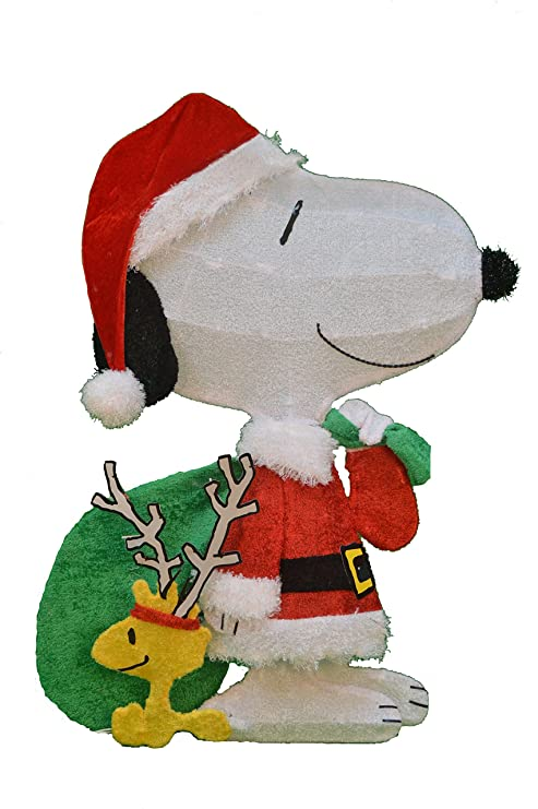 productworks 32 inch pre lit peanuts snoopy santa with woodstock christmas yard decoration