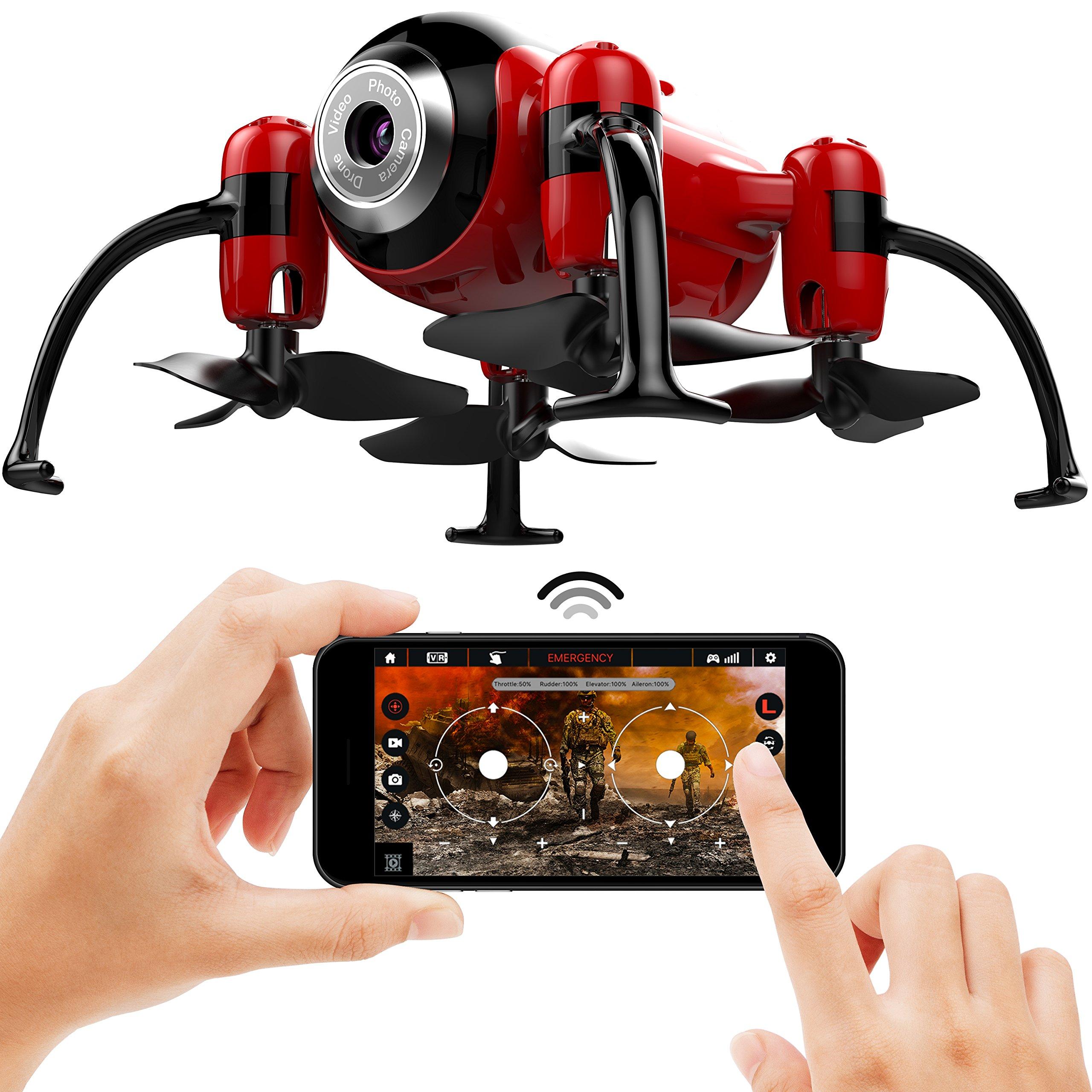 Kolibri Torpedo Mini Drone for kids Micro Camera with FPV App Video Stream, Altitude Hold, Headless Mode, One-Button Auto Take-Off & Landing, Nano Quadcopter for Beginners Model: XK2380