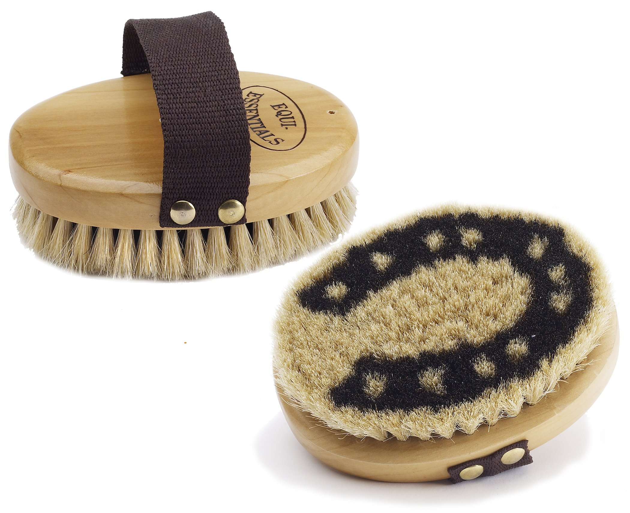 Equi-Essentials  Wood Backed Horsehoe Horsehair Body Brush