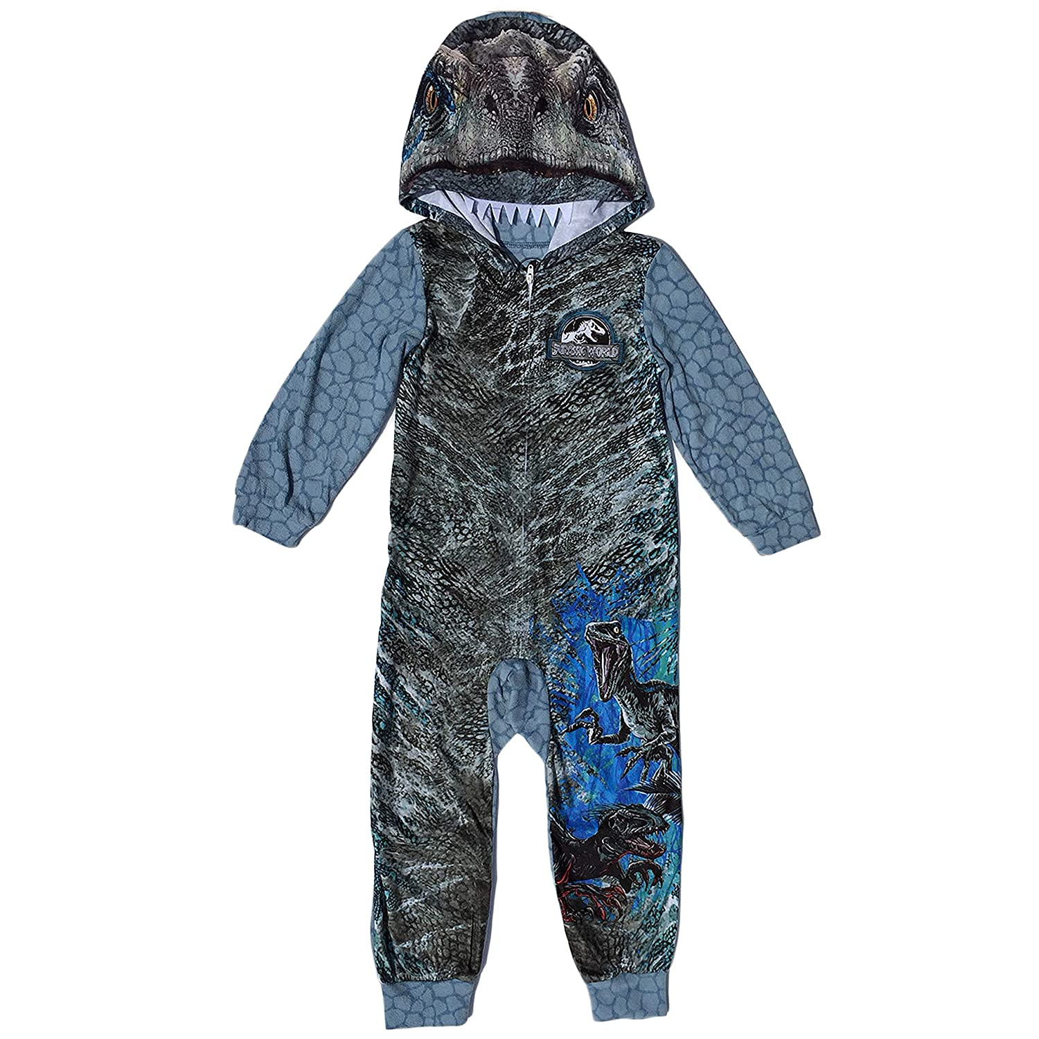 AME Jurassic World Blue Raptor Fleece Hooded Union Suit Boys Pajamas 4-16