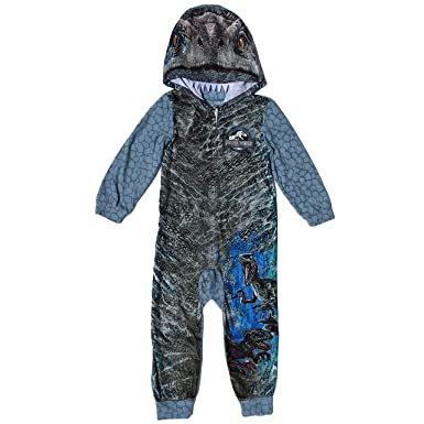 5940db668 AME Jurassic World Blue Raptor Fleece Hooded Union Suit Boys Pajamas 4-16  (XL