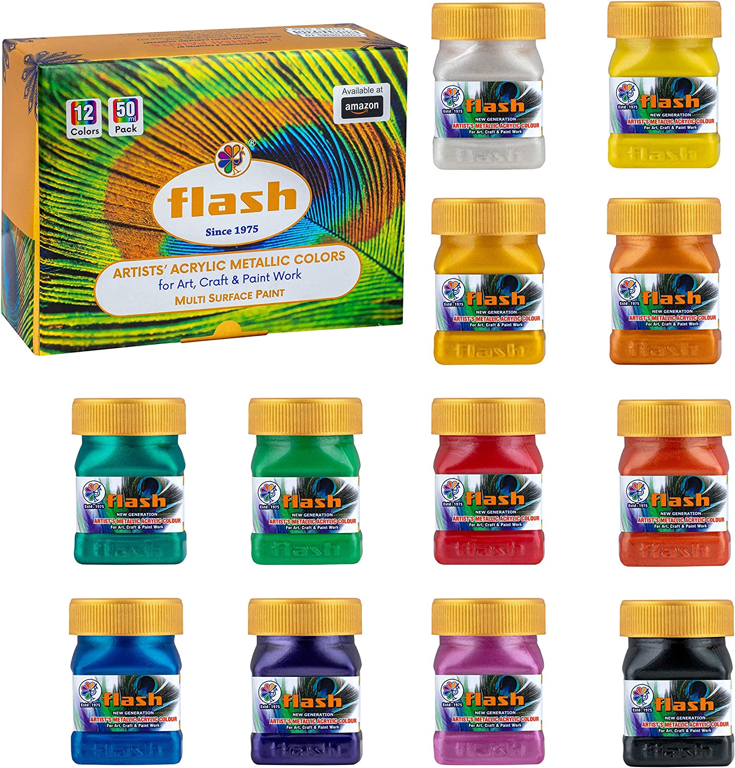 Flash Premium Iridescent Metallic Acrylic Paint Set 12 Shades,(50ml,1.7 oz), Highly Pigmented & Fade-Resistant, Non-Toxic, Multi-Surface Paint for Artists, Hobby Painters & Kids