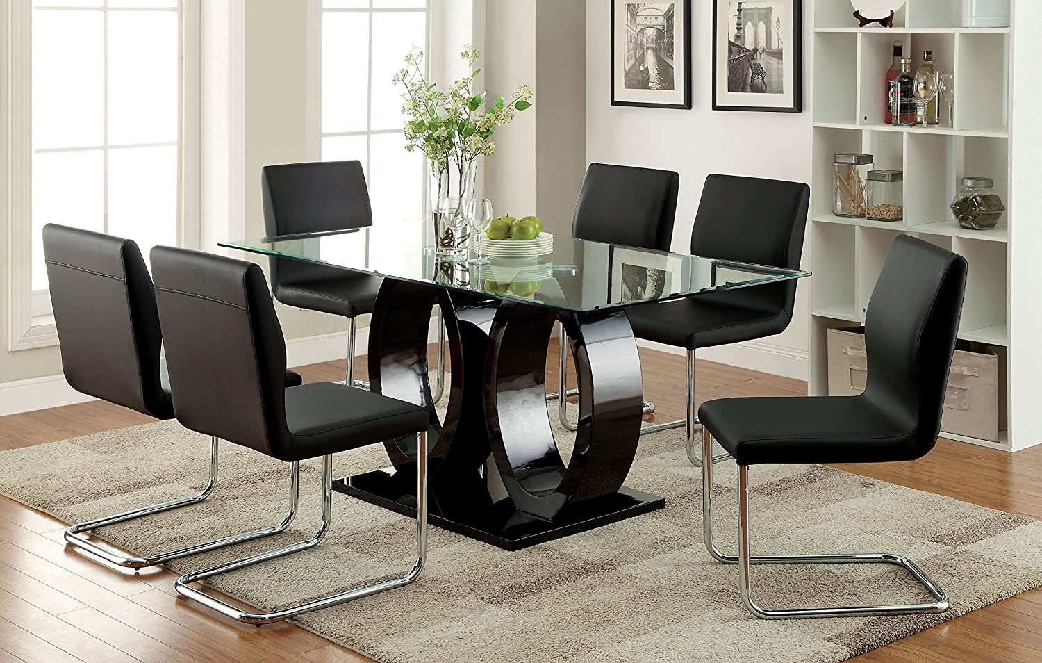 Amazon.com   Furniture Of America Quezon 7 Piece Glass Top Double Pedestal Dining  Set, Black   Table U0026 Chair Sets