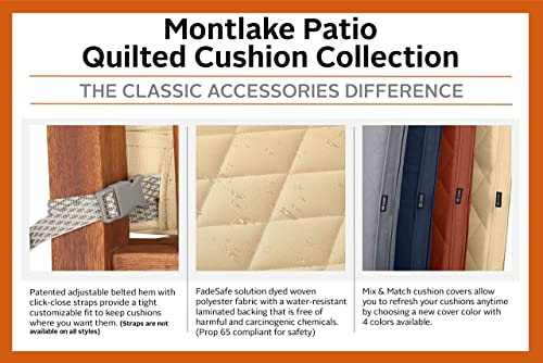 Classic Accessories Montlake Water-Resistant 80 x 26 x 3 Inch Rectangle Patio Quilted Chaise Lounge Cushion