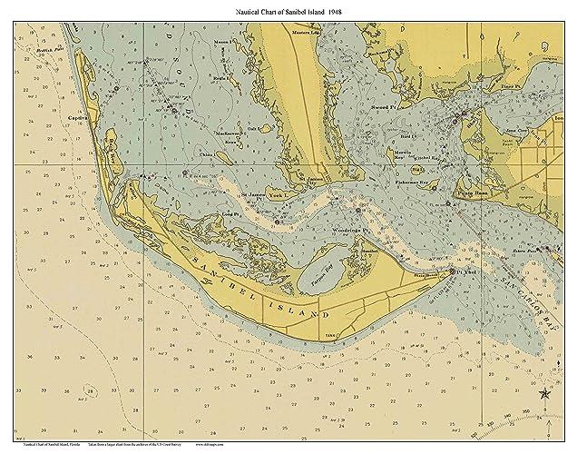 Amazon Com Sanibel Island 1948 Nautical Map Florida Custom Print