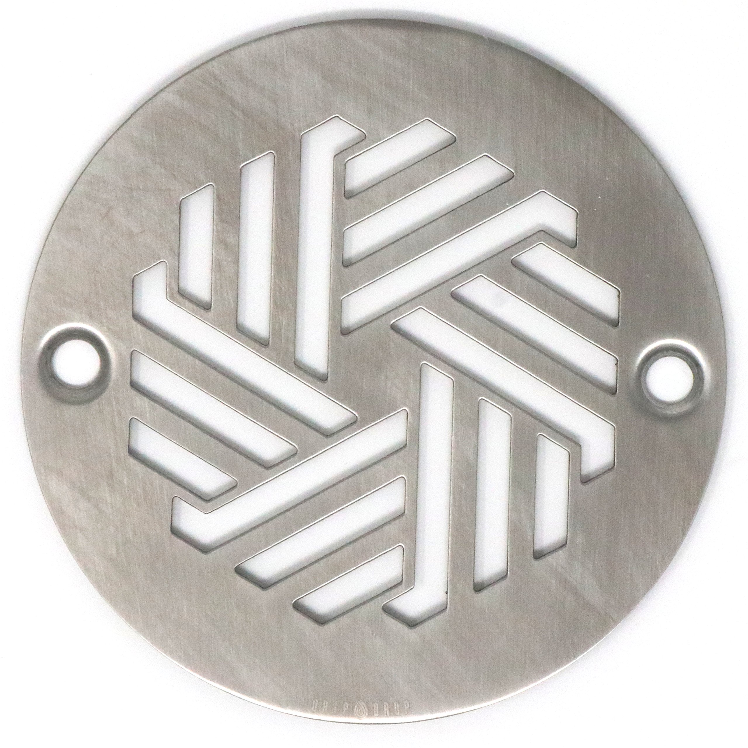 DRIP DROP Custom Shower Drain Cover (4in Round - Hexagon, Brushed Stainless Steel)