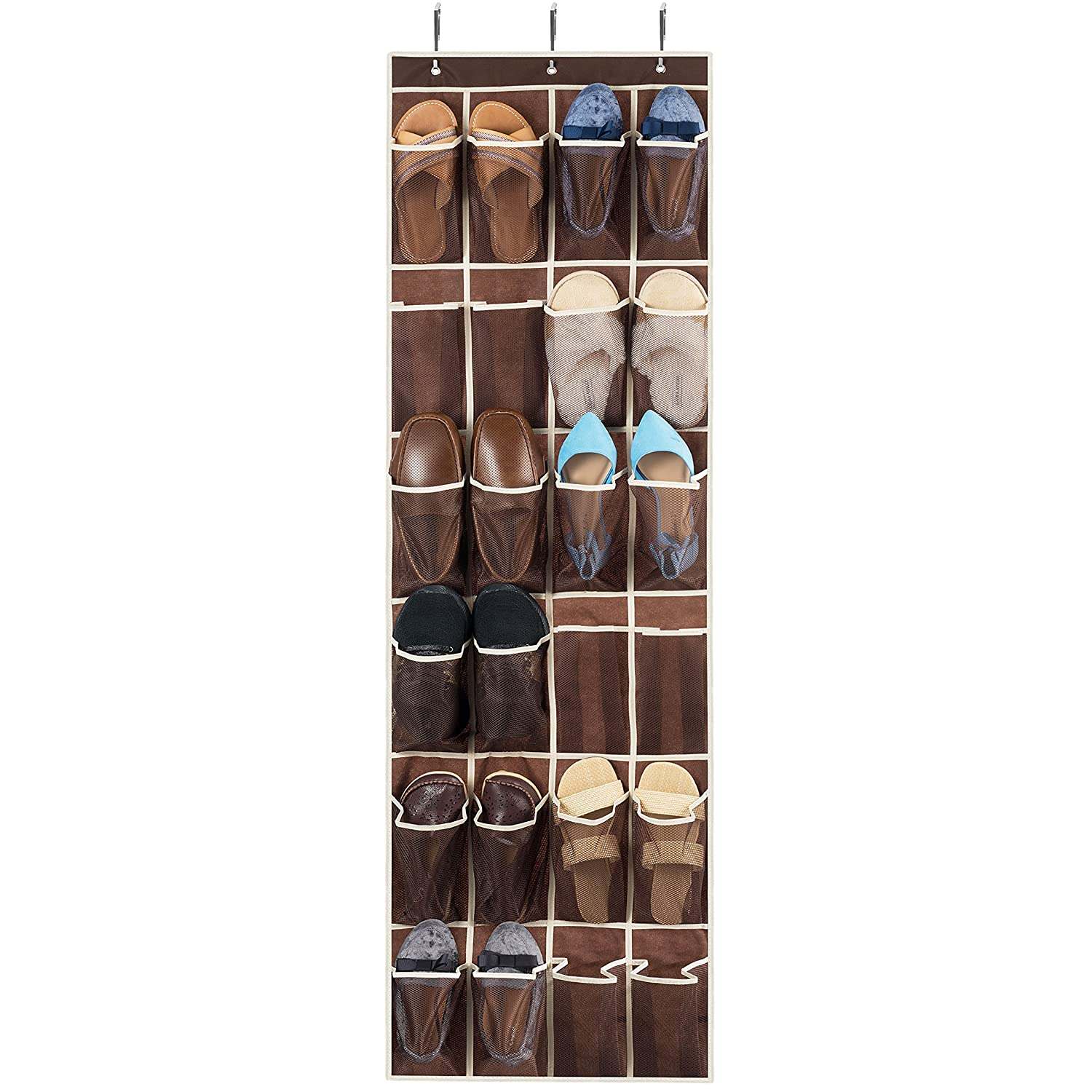 ZOBER Over The Door Shoe Organizer - 24 Breathable Pockets, Hanging Shoe Holder for Maximizing Shoe Storage, Accessories, Toiletries, Laundry Items. 64in x 18in FBA_B01AS4ZII6