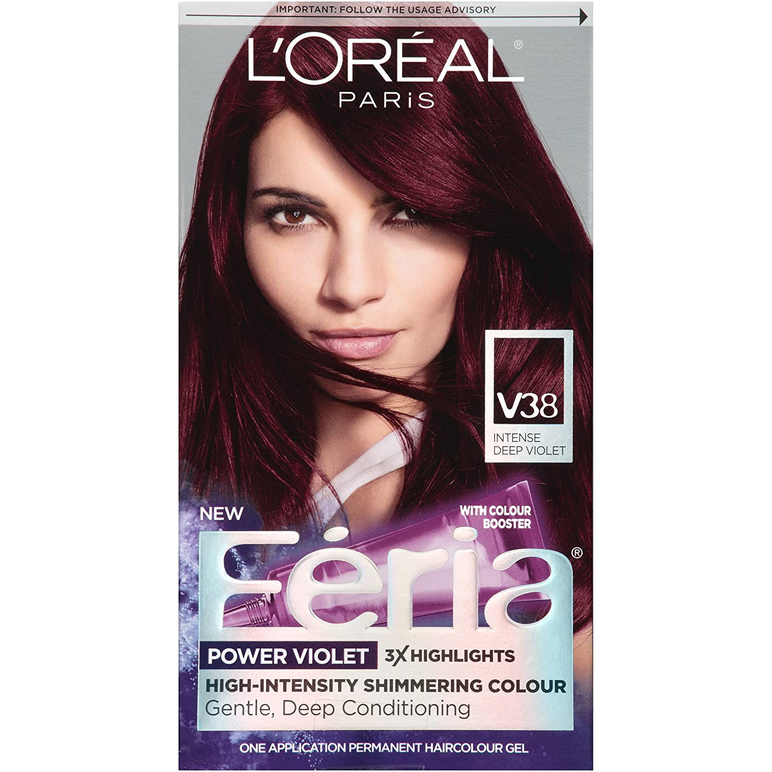 L'Oreal Paris Feria Multi-Faceted Shimmering Permanent Hair Color, V38 Violet Noir (Intense Deep Violet), Pack of 1, Hair Dye