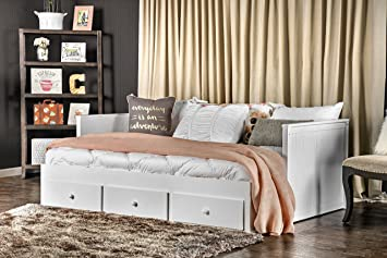 furniture of america medina cottage style storage daybed white