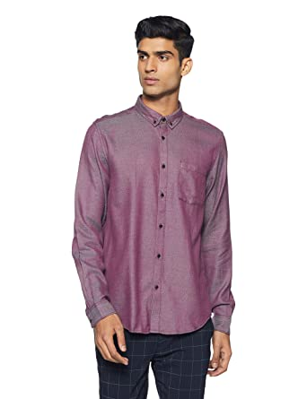 1f91c656f6a2 blackberrys Men's Solid Regular Fit Casual Shirt (US SO 405:Garnet Red_39)