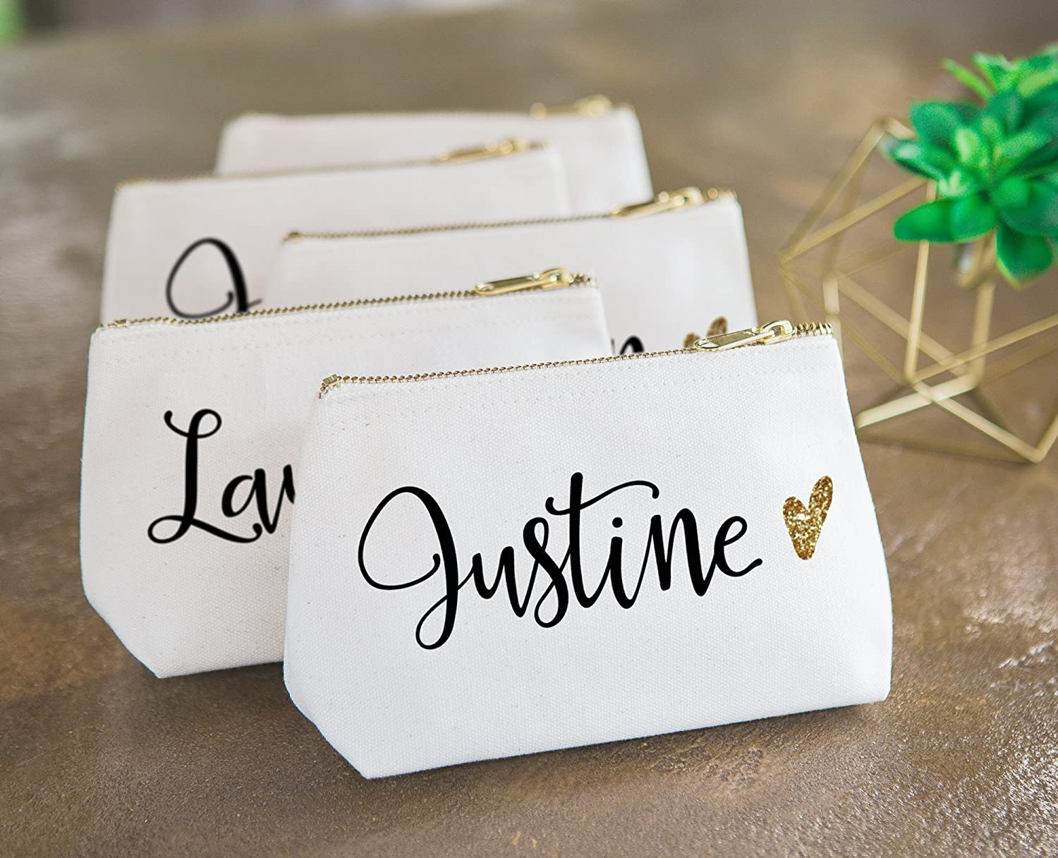 Amazon.com: Personalized Makeup Bag Gift for Bridesmaids, Canvas ...