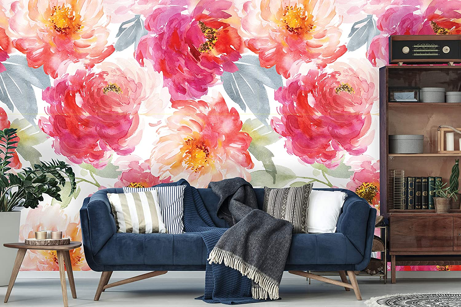 Removable Wallpaper Peel And Stick Floral Wallpaper Self Adhesive Watercolor Flowers Wallpaper Peonies Mural Sample 12 X 24 Amazon Com