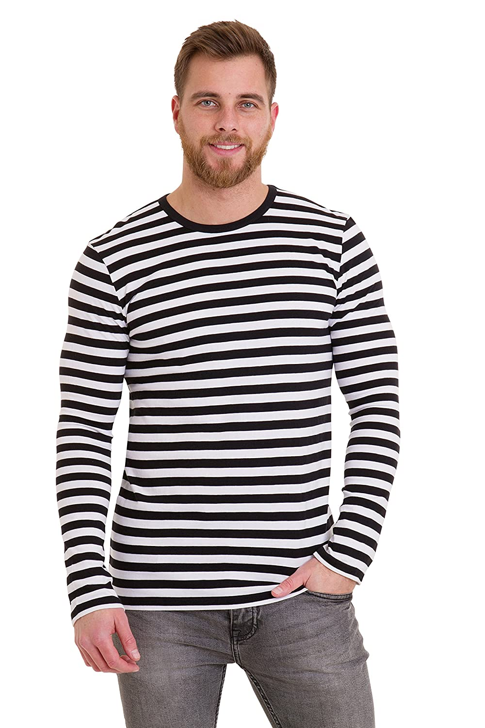 1960s Men's Clothing, 70s Men's Fashion Mens 60s Retro Black & White Striped Long Sleeve T Shirt $19.95 AT vintagedancer.com